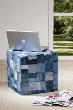 """Pouf carré collection """"Jean's"""" patchwork http://deco-maison-fr.com/article/176/pouf-carre-collection-jean-s-patchwork#"""
