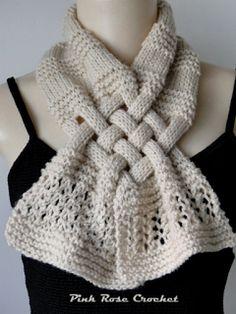 cachecol trançado de tricô