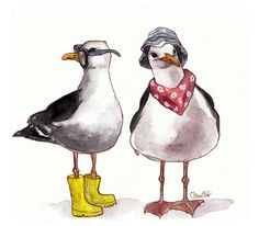 Seagulls Art Print by Clementine Petrova - X-Small Watercolor Animals, Watercolor Paintings, Happy Paintings, Animal Nursery, Whimsical Art, Beach Art, Woodland Animals, Cute Illustration, Pet Birds