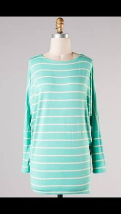 3/4 Sleeve Mint Tunic! $34! S-L! Comment sold, size and email to purchase!! Perfect top for Spring!
