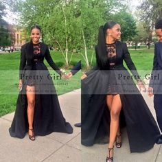 Sexy See Through Black Lace High Low Prom Dresses 2015 Elegant Long Sleeve Evening Gowns Cheap Party Dress vestidos de festa