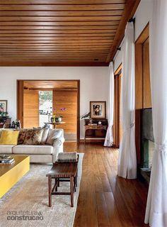 House Ceiling Design, Ceiling Design Living Room, Bedroom Ceiling, Living Room Decor, House Design, Wood Plank Ceiling, Wooden Ceilings, Living Room Tv Unit Designs, Tropical Interior