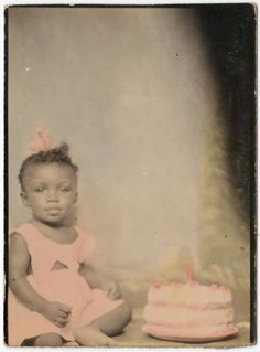 CUTE-LITTLE-GIRL-BIRTHDAY-BABY-BLACK-AFRICAN-AMERICAN-VINTAGE-PHOTOBOOTH-PHOTO