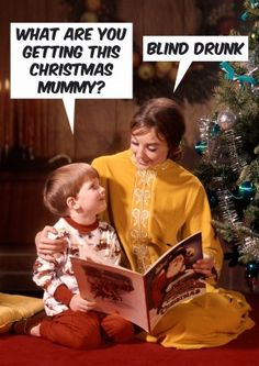 Blind Drunk| Funny Christmas Card   Well now we know what's filling her stockings. Hilarious Xmas card. Perfect for a mum wo likes a festive tipple.