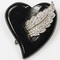Deco Black Bakelite Heart Pierced by a Pave Leaf Pin