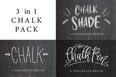 3 in 1 Chalk Pack Procreate Brushes by PrintableHaven on @creativemarket