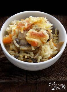 Orez cu cinci feluri de branza si ciuperci la cuptor