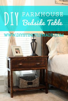 DIY Farmhouse Bedside Table - 2 tables for less than $90! - easy plans | DIYstinctlyMade.com