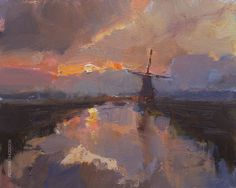 New Blog Post: https://roosschuring.com/painting-landscapes/windmill-in-early-morning/ Painting what you love. I did not always love to paint the landscape with windmills, but it grew on me. Probably with age. :) Perhaps the more you travel, the more you'll love your home, and the older you get the more it is enough to stick with. Not many artists realize this: the more you... View More at: https://roosschuring.com #Paintingsunrise, #Windmillsunrise