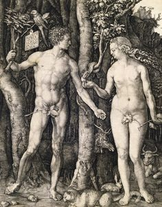 'Adam and Eve' by Albrecht Durer (1504). Adam carries a parrot on a stick, as with the fashion of 1504… jokes. Adam and Eve stand in almost perfect symmetry, with one leg straight, the other bent, one arm straight, the other bent. This posture called 'contrapposto' reflects the even distribution of weight. The four animals at the bottom represent the medieval idea of the four temperaments; the cat is choleric, the rabbit is sanguine, the ox phlegmatic and the elk melancholic.