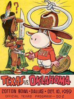 Love these Texas cartoon program covers Texas Longhorns Football, Ut Longhorns, Oklahoma Sooners, Football Program, College Football, Texas Humor, Hook Em Horns, Cotton Bowl, Boomer Sooner