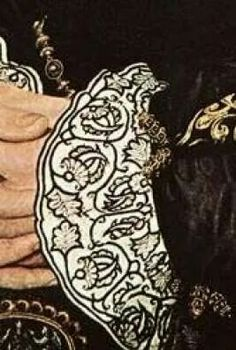 16th C. - Counted blackwork - cuffs closeup, portrait of either Catherine Howard or Elizabeth Bradley