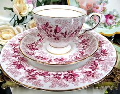 Tuscan Tea Cup and Saucer Trio Fashion Rose Pattern.