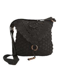 Matalan - Fold Over Crochet Bag in Black