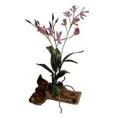 "Faux purple orchid arrangement on reclaimed wood.   Product: Faux floral arrangementConstruction Material: Polyester, natural wood, and natural mossColor: PurpleFeatures: Includes faux orchidsDimensions: 14"" H x 8"" W x 8"" D"