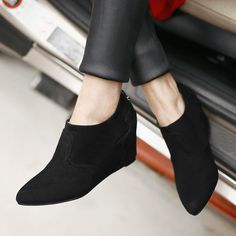 spring autumn pumps women pointed toe high heel shoes wedges flock causal fashion shallow shoes grey black