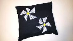 black pillow cute flower patches