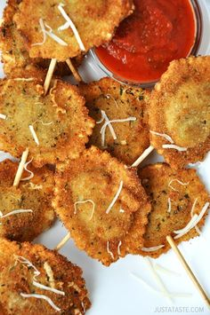Deep-Fried Ravioli.  The smaller sized ones make great appetizers.  I let them sit for a few minutes after breading so that they breading can air dry. I find that it makes them crisper and it seems to stay on better.  Cheese stuffed ones are the best.