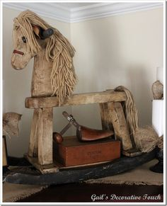 this was a regular rocking horse repainted with ASCP old white, graphite, Folk Art Crackle Medium and the dark wax.