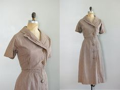 vintage 1940s Tick Tock Stripe dress