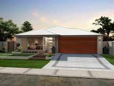 White Colourbond Roof, Neutral Rendering and Timber - Look Garage Door. Want this!