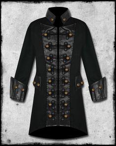 pirate coats for men | ... Mens Black Copper Button Steampunk Goth Military Pirate Jacket Coat