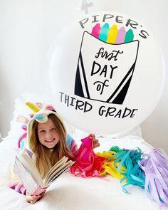 First Day of School Photos with Custom Jumbo Balloon