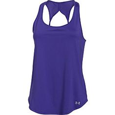 Lace up those sneaks and go, go, go in this ultra-lightweight Under Armour® women's Fly By 2.0 running tank! Signature HeatGear® technology sweeps sweat away, while open-hole mesh panels at the back provide superior breathability to keep you cool. Its modified racerback allows your arms to move freely and features a sweet keyhole detail.