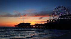 Santa Monica Beach California At Night Wallpaper