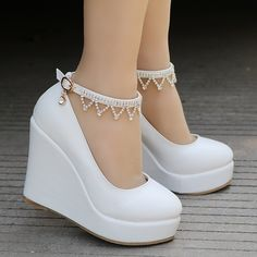 Wedges shoes for women rhinestone platform wedges pumps for .- Wedges shoes for women rhinestone platform wedges pumps for women high heels shoes # fashionmodel - Dr Shoes, Me Too Shoes, Golf Shoes, Kawaii Shoes, Ankle Strap Wedges, Shoes Heels Wedges, Ankle Straps, Strap Sandals, Wedge Shoes Outfits