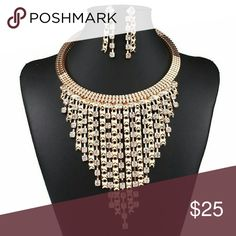 Gorgeous Rhinestone Statement Necklace Earring Set Gorgeous Gold-tone Rhinestone Statement Necklace Earrings Set    Length: 18 inches end to end  Height: 5 inches  Earrings Height: 2 inches Jewelry Necklaces