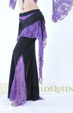 danza del vientre tribal dancewear traje de baile de encaje falda pantalón con cinturón de colores 10 t100