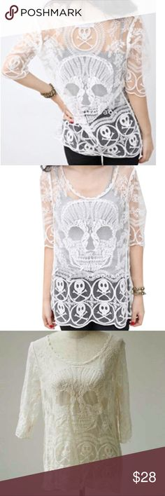 """Cute Crotchet Sexy Sheer Skull Top - Halloween NWT Really pretty NWT lace Skull  top. 3/4 sleeves. Soft poly chiffon blend. Perfect for the Halloween season, biker or pirate theme, or really cute for any day! Also makes a sexy beach coverup top. Wear a cami or swimsuit under. One Size Fits sizes M, L, and XL: Bust 39"""", with stretch to 44"""". Color is a lovely creamy white. We ship fast with a FREE NWT gift. . Be sure to check out our current listings for bundle discounts! (T8 I4) Tops"""