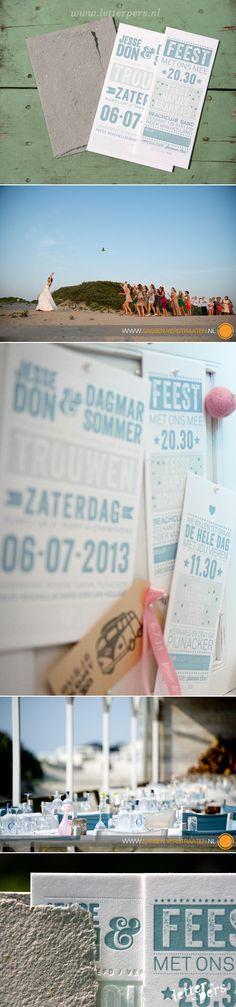 letterpers_letterpress_trouwkaart_Jesse-en-Dagmar_licht-groen_zomers_typografisch_strand_preeg
