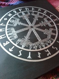 Vigvisir~ sister stave to Aegishjalmur (hence being in the same style)Vegvisir (Iclandic Viking sign post) is meant to protect the wearer from getting lost, particularly in bad weather and is also known as a Viking Compass.Traditionally the symbol would be drawn on the forehead in blood, to guide the wearer home even when the way was not known.