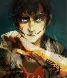 Percy, jason, leo, AND Nico all combined. This is pretty sweet, though I think he looks a bit crazy <<<< Did you mean: Hot<<<this is mah dream boi right her y'all