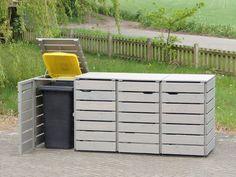 4er Mülltonnenbox aus Holz, Oberfläche: Transparent Geölt Grau