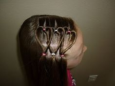 Triple Heart Hairstyle For little girls. Very cute hair style for Valentines day.