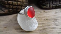 Handmade Sterling Silver and deep cherry red sea glass red ocean glass ring UK size J US 4 3/4
