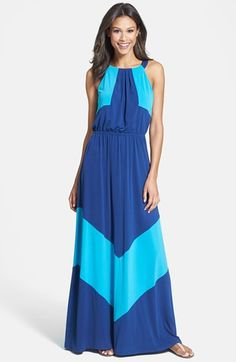 Vince Camuto Colorblock Stretch Jersey Maxi Dress | Nordstrom