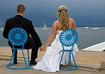 Beautiful photo of a bride and groom at the Memorial Union in Madison, Wisconsin.