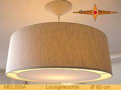 Loungeleuchte MELISSA Ø 60 cm, Pendellampe mit Lichtrand und Baldachin. Natürlich und elegant - die LoungeLeuchte aus naturbelassenem Leinen: