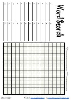 Free Printable Blank Word Search Puzzle Grid for Teachers and ...