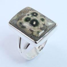 925 Solid Sterling Silver Hot Fashion Ring Size US 7 Real OCEAN JASPER Gemstone #SunriseJewellers #Fashion