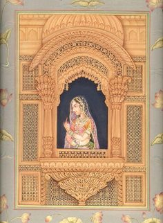 The Heroine in Her Wind-Palace, Mughal Miniature Painting on Paper Mughal Miniature Paintings, Mughal Paintings, Indian Art Paintings, Abstract Paintings, Rajasthani Painting, Rajasthani Art, Hindus, Indiana, Indian Folk Art