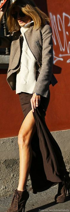 Brown slit maxi