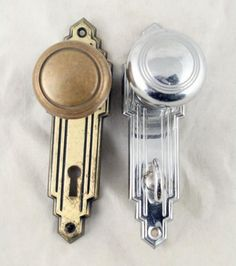 Art Deco bathroom knob set