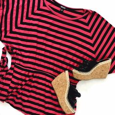 DKNY NWOT Black & Pink Striped Dress This is he perfect casual outfit: super soft, incredibly comfortable, and never out of style! Elastic waist with tie, dolman style sleeves. No flaws, tags removed but never worn. Midi-length. DKNY Dresses Midi