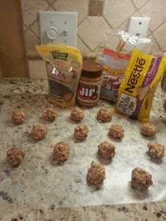 No bake healthy kids snack. Oats, all natural peanut butter, walnuts, chai seeds, chocolate chips. Pop them in the fridge 30 mins and store in air tight container.