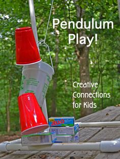 Pendulum Play is excellent for learning cause and effect, physics, spatial reasoning, experimenting with weight and size, language and vocabulary, working together.
